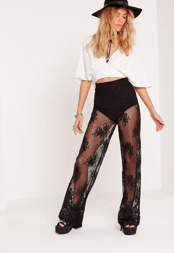 Lace Sheer Wide Leg Trousers Black