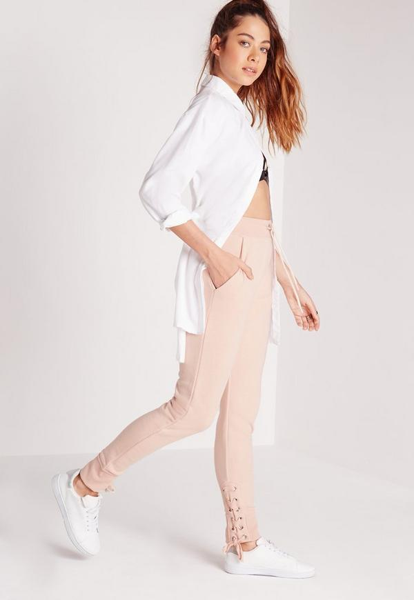 Lace Up Hem Joggers Nude