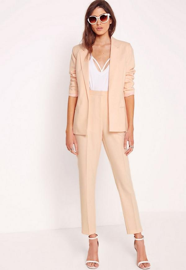 Tapered High Waisted Trousers Nude
