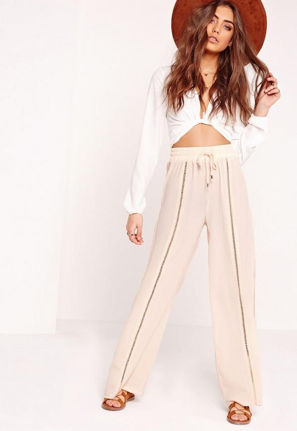 Elasticated Waist Ladder Detail Trousers Nude