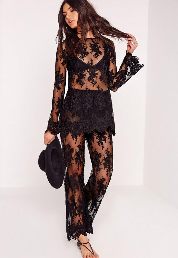 Lace Sheer Wide Leg Pants Black - Missguided