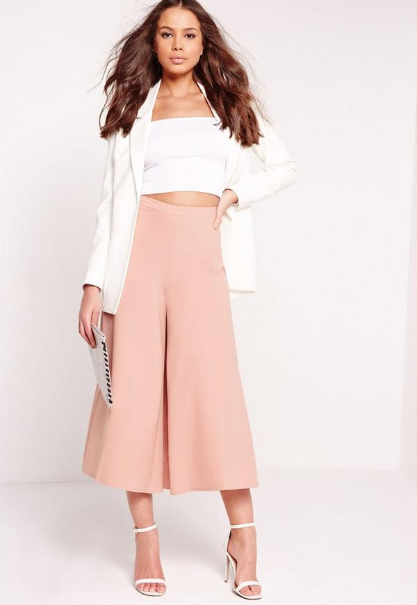Premium Wide Leg Culottes Pink Missguided