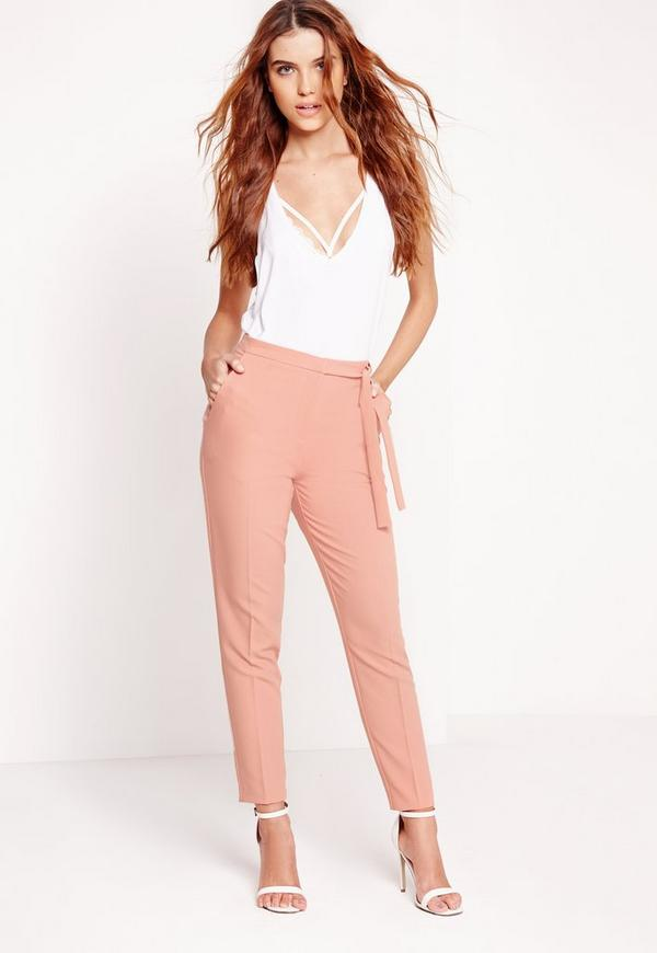 Tie Belt High Waist Cigarette Trouser Pink