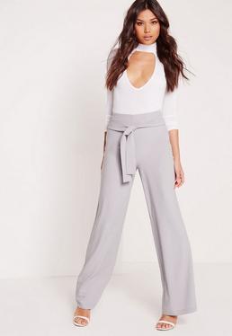 Premium Wide Leg Trousers Grey