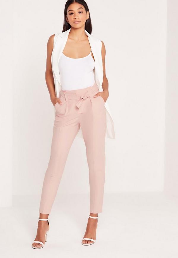 Pleated Waist Tie Belt Cigarette Trousers Pink