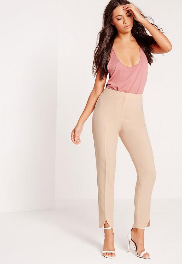 Split Front Cigarette Trousers Nude