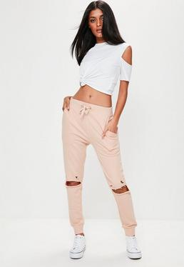 Ripped Front Joggers Nude