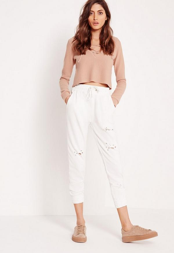 Distressed Hole Joggers White