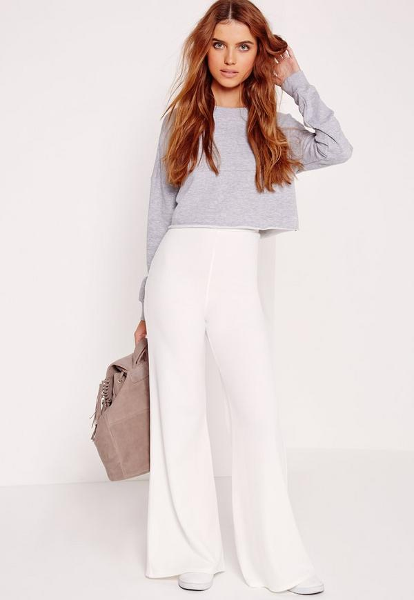 Wide Leg Crepe Trousers White