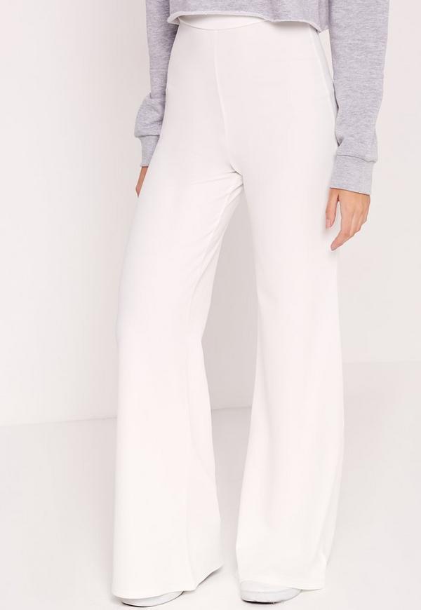 Pantalon large blanc en cr pe missguided - Pantalon peintre blanc pas cher ...