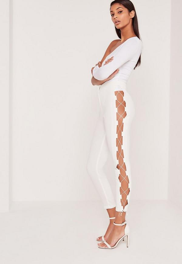 Carli Bybel Lace Up Side Cigarette Trousers White