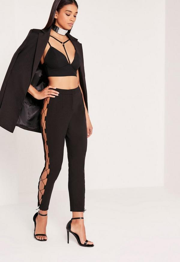 Lace Up Side Cigarette Trousers Black