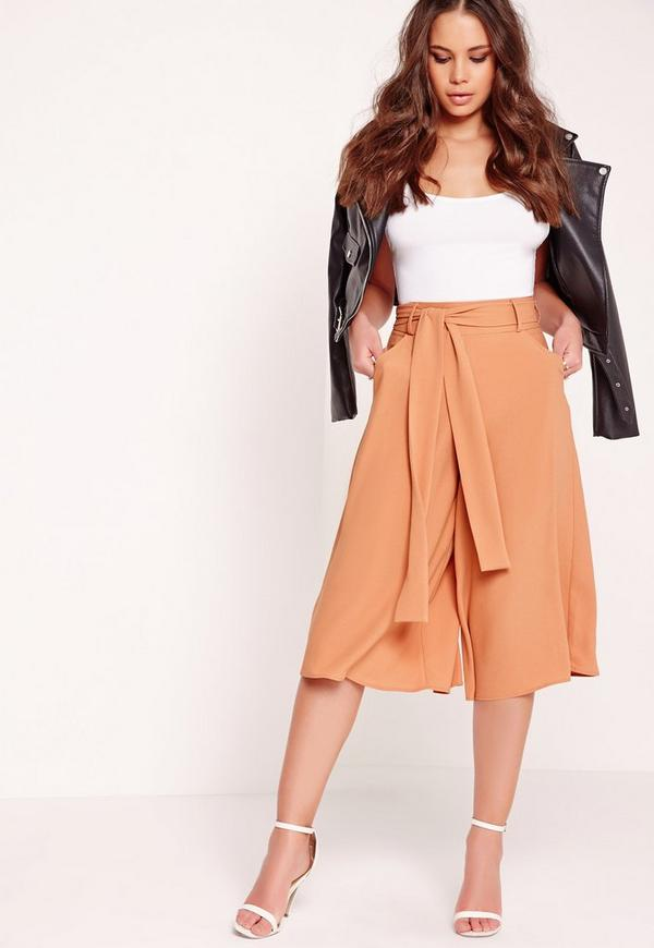 Textured Wide Leg Belted Culottes Nude