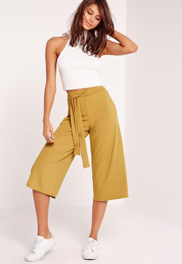 Ribbed Tie Belt Culottes Green