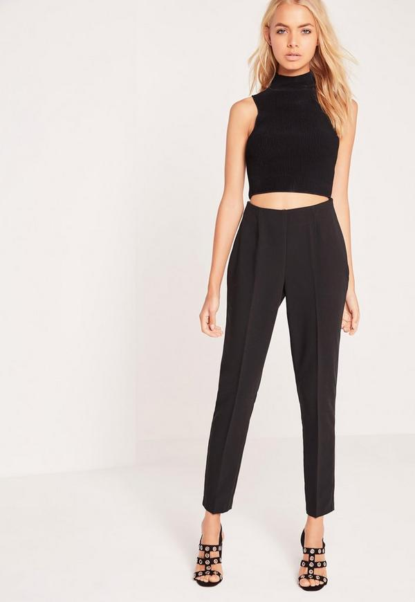 Crepe Tailored Trousers Black
