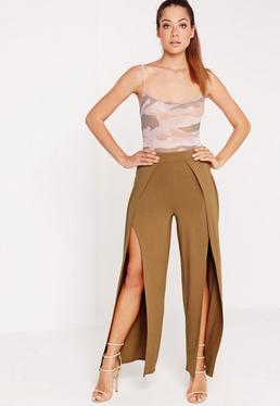 Split Front Jersey Pants Camel