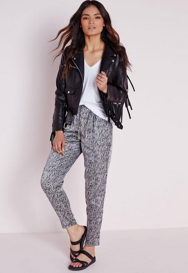 Zebra Print Tapered Leg Trousers Black