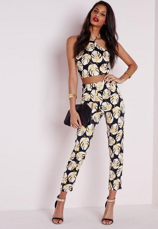 Leaf Print High Waisted Tapered Leg Trousers Navy