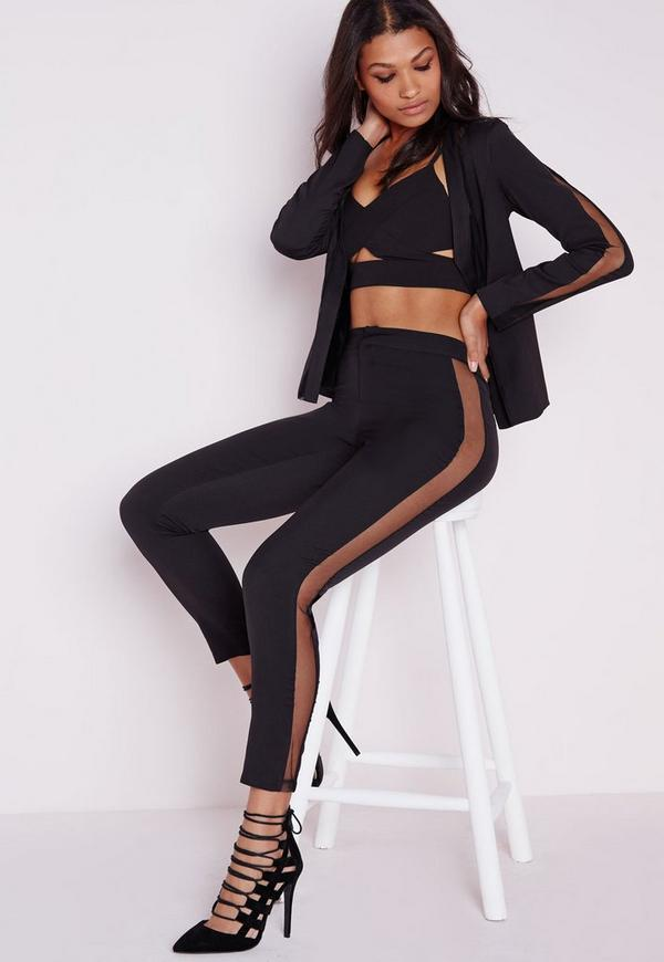 Mesh Panel Cigarette Trousers Black
