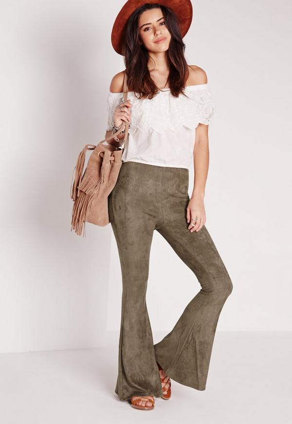 Faux Suede Skinny Flares Khaki Green