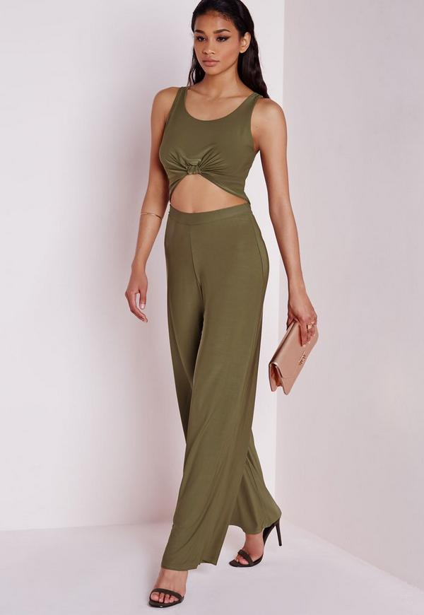 Slinky Wide Leg Trousers Khaki Green
