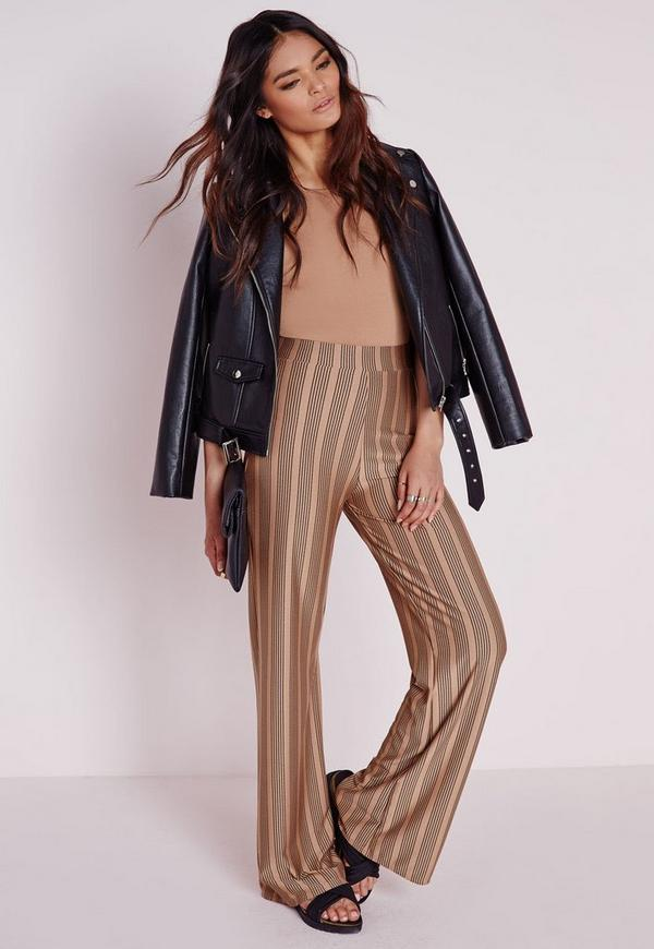 Stripe Jersey Wide Leg Trousers Camel