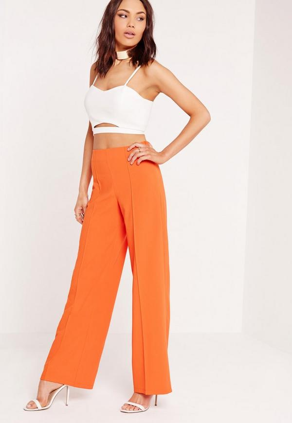 Pleated Front Wide Leg Trousers Orange