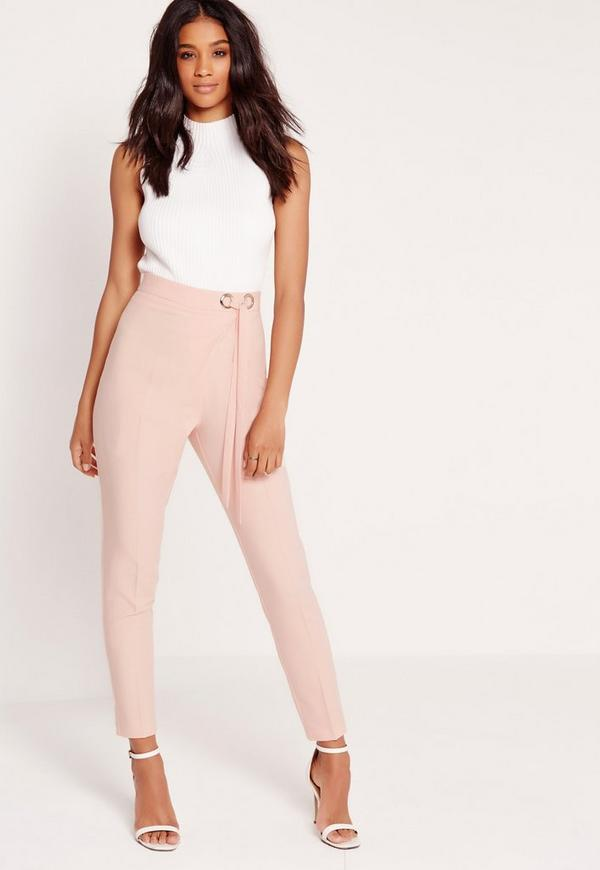 Eyelet Tie Waist Cigarette Trousers Pink