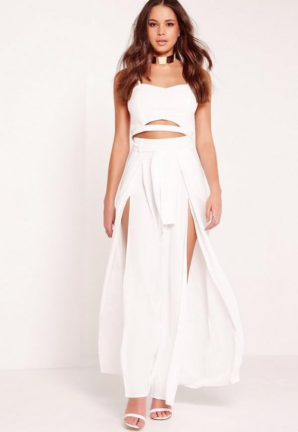 Split Front Palazzo Trousers Tie Belt White