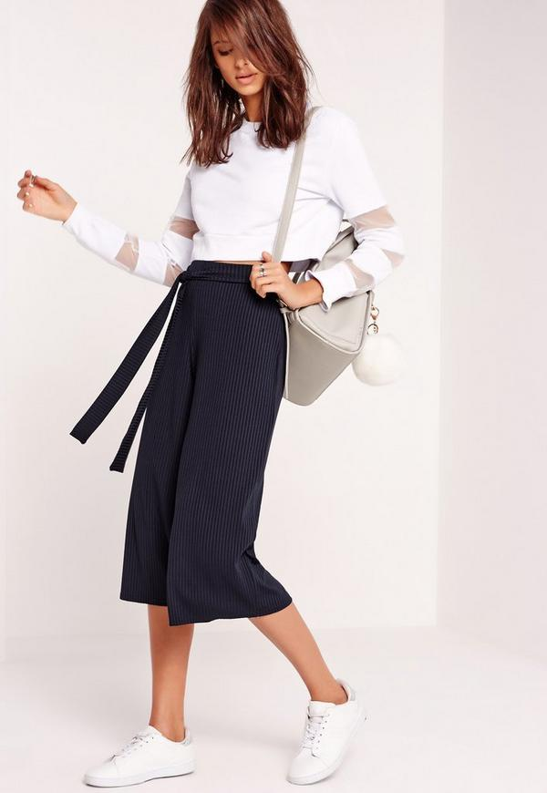 Ribbed Tie Belt Culottes Navy