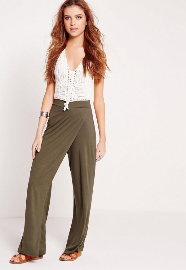 Jersey Wrap Front Trousers Khaki