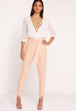 Tie Waist Seamed Front Cigarette Trousers Pink