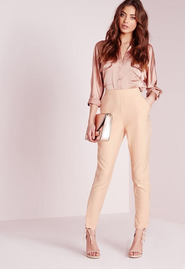 Eyelet Detail Crepe Cigarette Trousers Nude