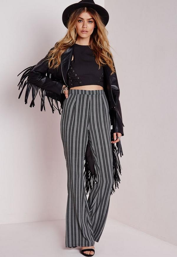 Boho Print Flare Trousers Black