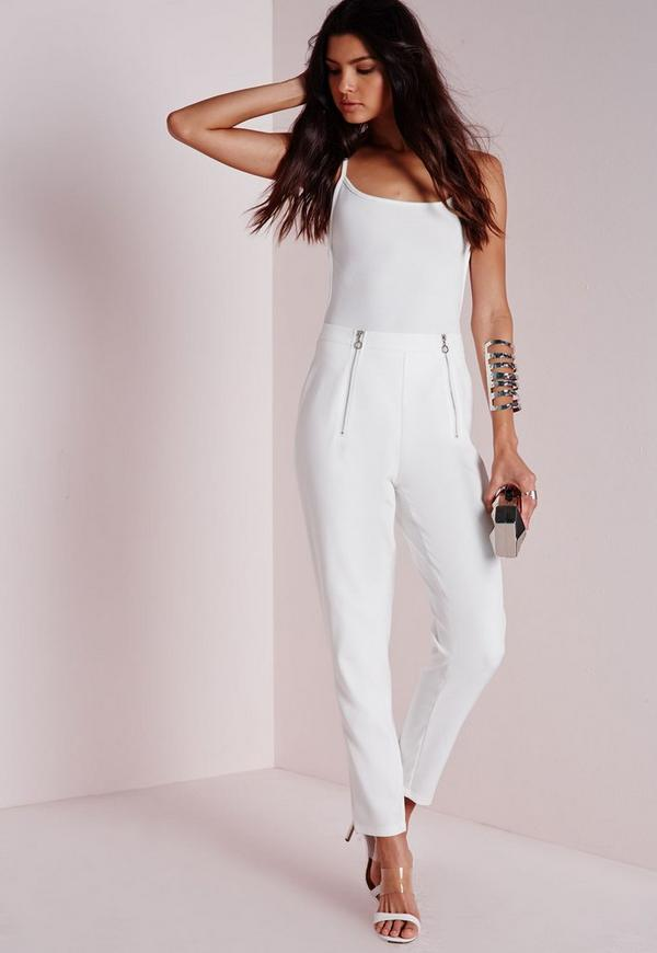 Double Zip Detail Cigarette Trousers White