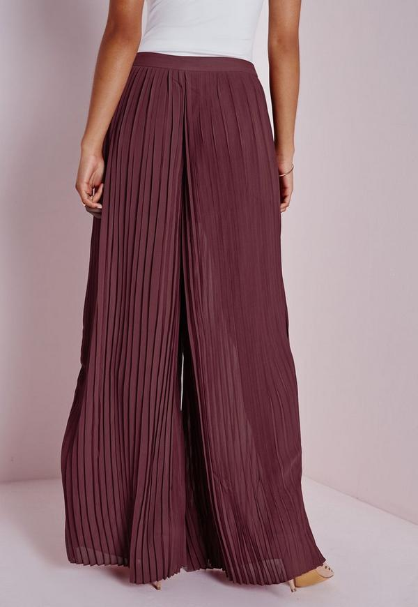 Pleated Wide Leg Pants Rust Missguided