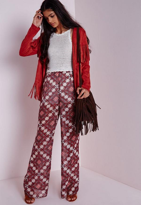 Paisley Print Chiffon Wide Leg Trousers Red