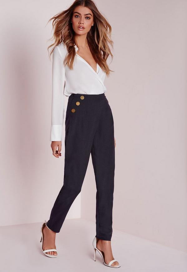 Button Detail Woven Cigarette Trousers Navy
