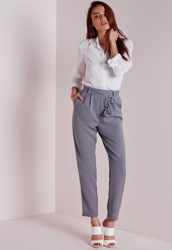 Rope & Tassel Belt Cigarette Trousers Grey
