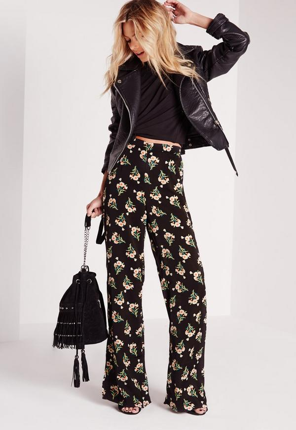 Floral Print Wide Leg Trousers Black