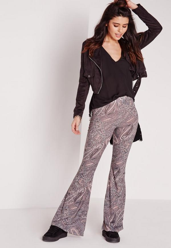 Paisley Print Skinny jersey Flare Trousers Multi