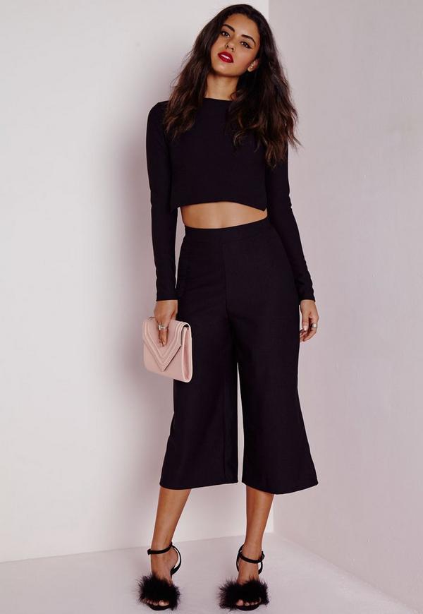 High Waisted Crepe Culottes Black