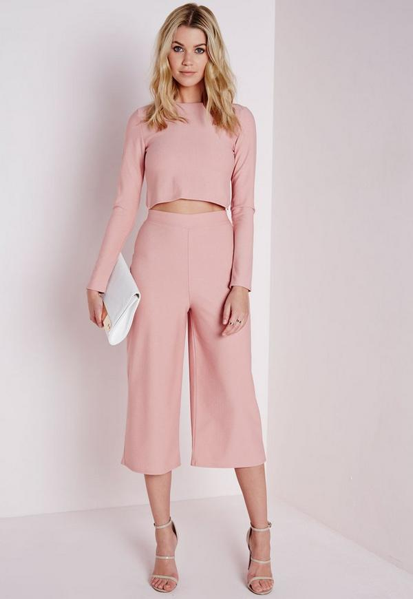 High Waisted Crepe Culottes Nude