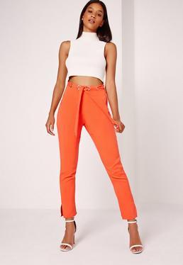 Multi Eyelet Tie Waist Trousers Orange