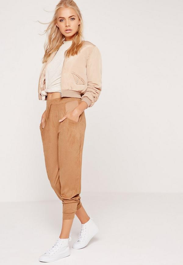 Perforated Faux Suede Cuffed Joggers Tan