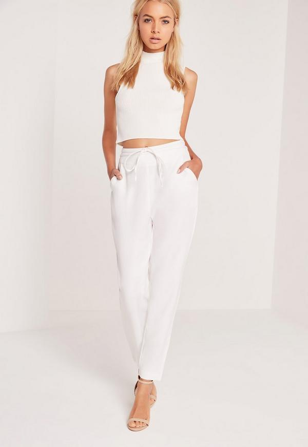 Crepe Wrap Tie  High Waist Trousers White