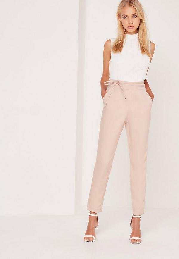 Crepe Wrap Tie  High Waist Trousers Nude