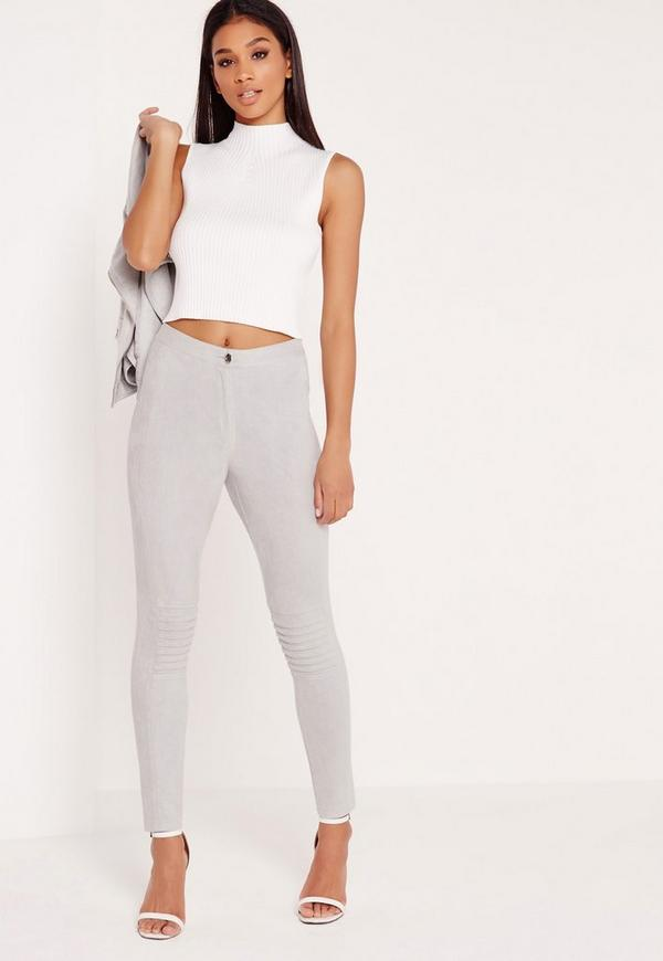 Faux Suede Biker Knee Leggings Grey