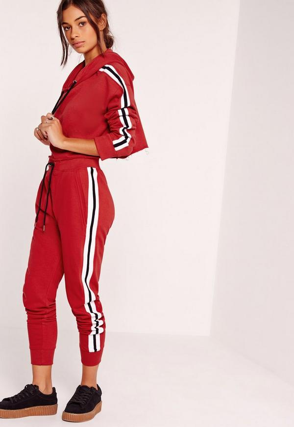 Stripe Jogger Red Missguided