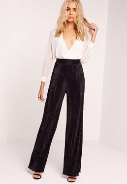 Crinkle Wide Leg Trousers Black